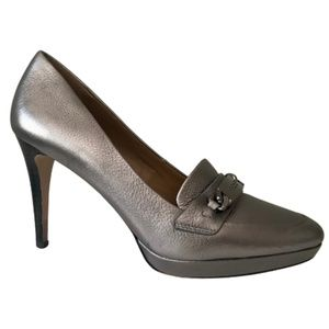 COACH Metallic Leather Silver High Heel Shoes 7.5